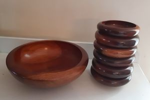 wooden salad bowl set, include 1 salade bowl and 6